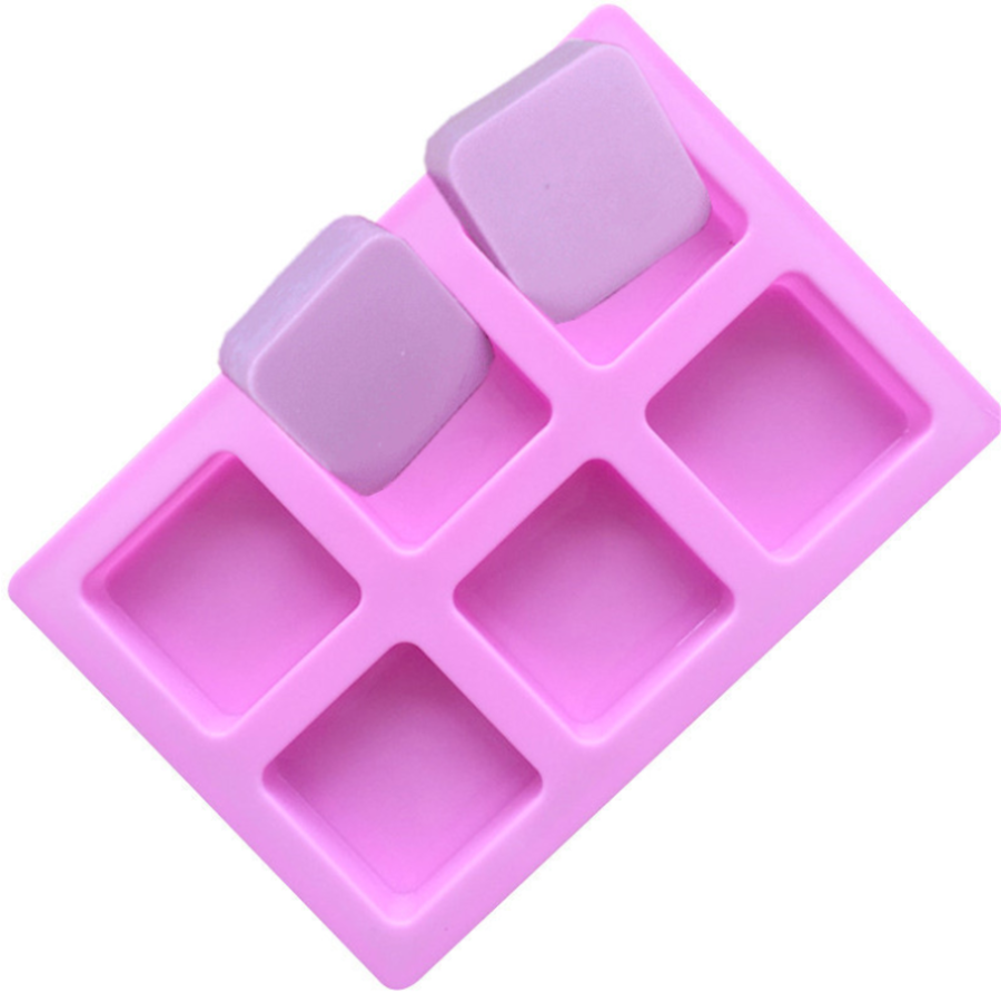 Silicone 6 Cavity Rounded Square Mould